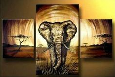 Large Wall Art Elephant Painting Series by HybridArtGallery, $295.00