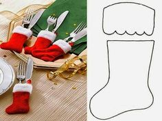 Bota navideña para los cubiertos.