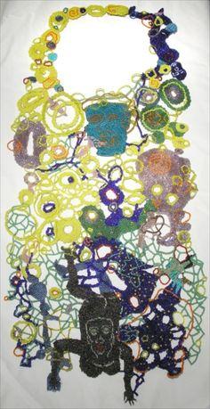 JOYCE J. SCOTT BIB NECKPIECE Peyote-stitched glass beads, thread