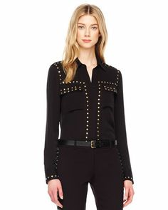 MICHAEL Michael Kors Studded Silk Blouse #McArthurGlenStyle