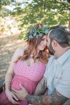 Rustic pregnancy maternity portraits in field Orange County