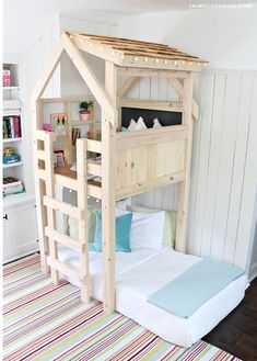 p/ana-white-over-bed-indoor-playhouse-diy-projects - The world's most private search engine Diy Toddler Bed, Toddler Rooms, Kids Rooms, Diy Bett, Build A Playhouse, Kids Indoor Playhouse, Indoor Playground, Childrens Playhouse, Big Girl Rooms