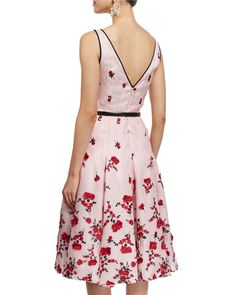 Oscar de la Renta Sleeveless Carnation-Embroidered Cocktail Dress, Rose