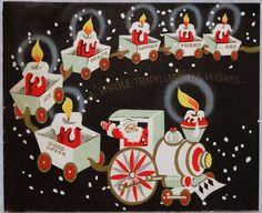 #913 50s Santa Hauls Candles in the Train, Vintage Christmas Card-Greeting