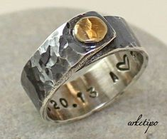 Personalized Sterling Silver Ring..Handmade hammered by Arketipo, €40.00
