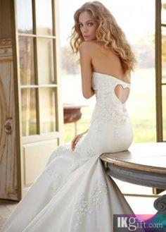Trumpet Strapless Satin and Lace Wedding Dress
