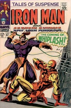 Iron Man vs. Whiplash (who in the comic is a mob enforcer). Stark's cousin Morgan is a black sheep; in the Captain America story, Cap meets the Black Panther (in a later story, T'Challa gives Cap's associate the Falcon an upgrade).