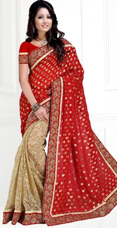 USD 67.91 Red Georgette Embroidery Wedding Saree 42848