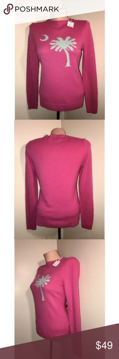 Vineyard Vines Women's Pink Cashmere Sweater Size: 2XS (XXS) Color: Lipstick (Hot Pink) Tag Measurements- XXS Material: 35% Viscose / 29% Lambswool / 20% Nylon / 8% Angora / 8% Cashmere Condition: New with Tags  Features: Never Worn, Long Sleeve, No Flaws, Comfortable and lightweight Flaws: None Measurements:  Chest - 17 inches  Shoulder - 14.5 inches  Sleeve - 24.5 inches  Length - 23.5 inches Vineyard Vines Sweaters Crew & Scoop Necks