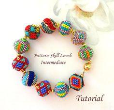 Bonbons beaded beads beading tutorial beadweaving von PeyoteBeadArt
