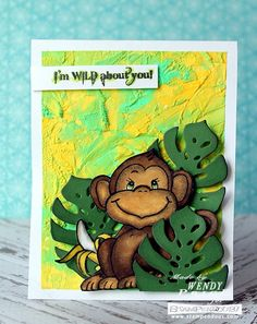 #Cre8time to be wild about bananas and bright background cards. #Stampendous #ImagineCrafts