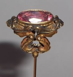 Antique Art Nouveau Hat Pin Pink Faceted Amethyst Glass Stone Vtg Lady Hatpin | eBay