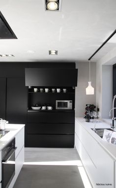 black and white contemporary kitchen More