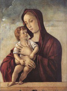 """nmontinari: """" Giovanni Bellini - Madonna con bambino in piedi su un parapetto - 1476 - Verona - Museo di Castelvecchio """""""