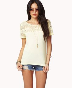 Essential Lace Trimmed Tee | FOREVER21 - 2015037047