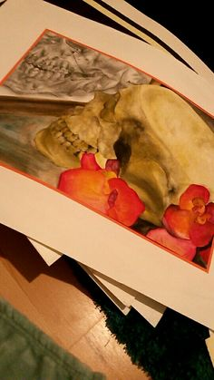 Painting I done in 2013, watercolour skull and orchids with a graphite pencil skull drawing in reflection on watercolour paper. Artist - Ashley Sarjantson