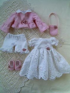 New Ideas for baby girl diy clothes fabrics Baby Doll Clothes, Barbie Clothes, Diy Clothes, Doll Dress Patterns, Clothing Patterns, Baby Dress Design, American Girl Clothes, Sewing Dolls, Barbie Dress