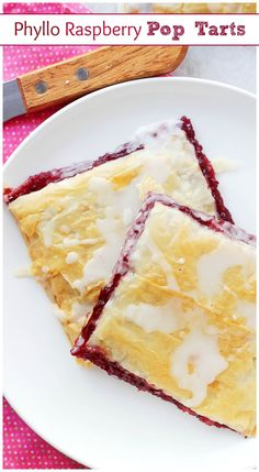 Buttery and flaky layers of Phyllo Sheets filled with a delicious Raspberry Jam and topped with a sweet Vanilla Glaze.