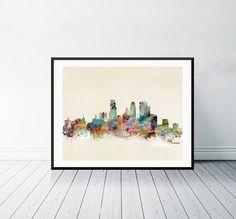 minneapolis minnesota . minneapolis city skyline.colorful modern pop art skylines . gallery edition prints for home decor.color your world