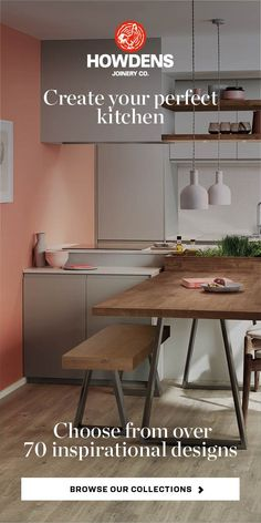 We have a choice of over 70 inspirational kitchen styles in stock and each can be tailored to suit your space, taste and budget. For more inspiration, visit Howdens.