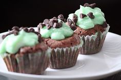 Mini mint chocolate chip cupcakes with peppermint buttercream