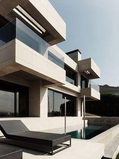 Clean lines, dual balconies!