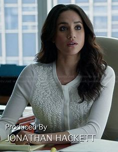 Rachel's white leaf embroidered cardigan on Suits Fashion Tv, Suit Fashion, Royal Fashion, Fashion 2017, Business Outfits, Office Outfits, Rachel Zane Outfits, Suits Meghan, Formal Winter Outfits
