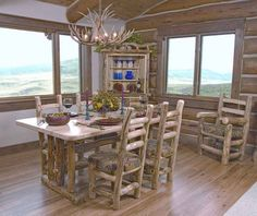 log furniture chairs tables
