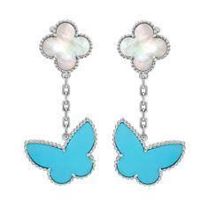 Van Cleef & Arpels Turquoise Mother-of-Pearl Lucky Alhambra Earclips | 1stdibs.com