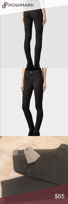 NWT all saints Leathered matte finish look. Brand new jeans, skinny high rise super stretch. Laquer black All Saints Jeans Skinny