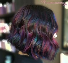 Oil slick highlights on brown hair google search express oil slick solutioingenieria Images
