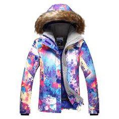 Gsou Snow Women Ski Jacket Winter Waterproof Hooded Snowboard Jacket Front