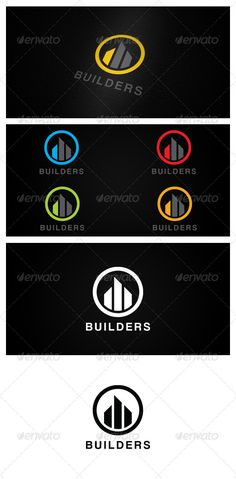 BUILDERS by aninn BUILDERS Vector logo template Ai & Eps file 30003000px 300dpi CMYK Print ready Layered Fully editable 7 color options Fo