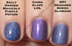 Sally Hansen Magicals Purple Potion, China Glaze LOL, OPI DS Glamour