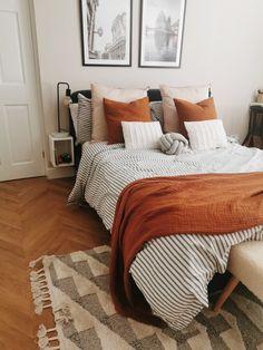 Egyptian cotton Dulux, rust accessories, striped b Room Ideas Bedroom, Home Bedroom, Bedroom Decor, Bedrooms, Bedding Decor, Master Bedroom, Dream Rooms, Dream Bedroom, Aesthetic Bedroom