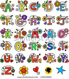 Illustration about A set of 26 letters of the alphabet drawn in a whimsical cartoon doodle style. Illustration of doodles, graphic, decorative - 44872647 Doodle Alphabet, Alphabet Drawing, Hand Lettering Alphabet, Doodle Lettering, Creative Lettering, Lettering Styles, Calligraphy Letters, Lettering Design, Alphabet Coloring