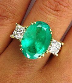 Emerald Diamond, Emerald Green, Wedding Engagement, Wedding Rings, Vintage Green, Turquoise Bracelet, Fantasy, Bracelets, Ebay