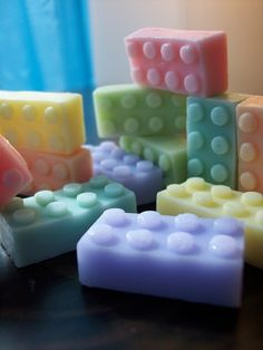 lego soap...how fun would THAT be to get the kids to take a bath?!  (And what would it take to make the molds?)