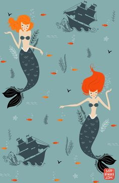 Find images and videos about ariel, mar and mermaid on We Heart It - the app to get lost in what you love. Textile Patterns, Textile Design, Design Art, Textiles, Illustrations, Illustration Art, Real Mermaids, Mermaid Art, Mermaid Cove