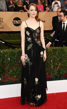 "Congrats to the stunning Emma Stone for winning Outstanding Performance by a Female Actor in a Leading Role for ""La La Land"" at the 2017 SAG Awards!"