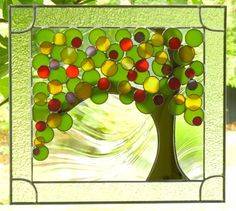 stained glass tree window panel
