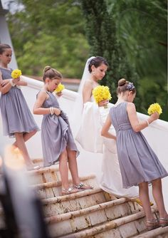 Gray bridesmaid dresses and yellow bouquets. Photo by Harwell Photography. #ThePerfectPalette