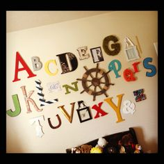 Alphabet Wall for a kids' room Nursery Ideas, Bedroom Ideas, Toys In The Attic, Alphabet Wall, Rainbow Loom, Learning Tools, My Little Girl, Dear Friend, Kids Rooms