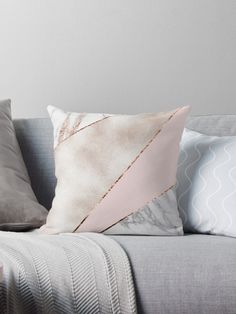'Spliced mixed rose gold marble' Throw Pillow by marbleco - Geometric splices of blush rose gold faux foil, blush pink, rose gold veined marble and white marble. Modern Luxury Bedroom, Luxury Bedroom Design, Luxurious Bedrooms, Modern Bedding, Bedroom Designs, Marble Bedding, Marble Bedroom, Pink And Gold, Blush Pink