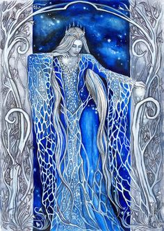 Varda, the Star- Queen and the Queen of the Valar. Inspired by the Silmarillion (J. R. R. Tolkien). - watercolours painting + pencil drawing WIP - If you like my art, you can buy some of my origina...