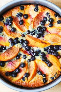 Take advantage of peach season with this peach and blueberry Greek yogurt cake.