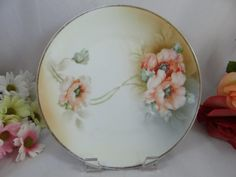 Vintage 1930s Hand Painted Reinhold Schlegelmilch RS Prussia China Germany Peach Poppy Plate