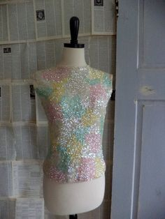 1960s Pastel Sequined Party Top $52.00