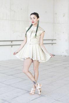 Miranda Makaroff wearing Pedro Garcia Shoes at Cibeles Fashion Week Madrid