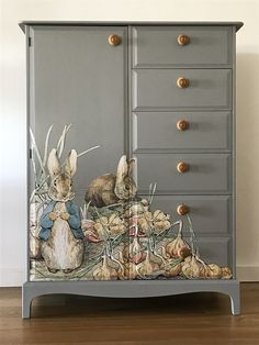 Up Cycled Vintage Stag Tallboy Wardrobe With Beatrix Potter Peter Rabbit Decoupage Decoupage Furniture, Paint Furniture, Upcycled Furniture, Furniture Projects, Kids Furniture, Furniture Makeover, Vintage Furniture, Furniture Design, Decoupage Art
